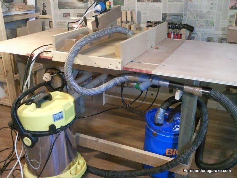 Sistema de aspiración para mesa combinada casera de carpintería