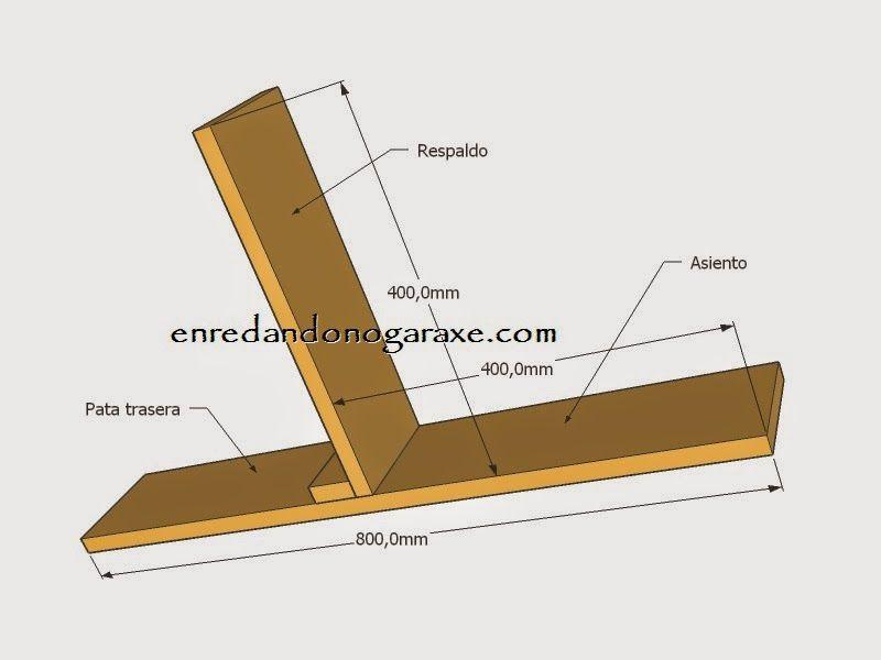 Planos laterales de la silla de palet. enredandonogaraxe.club