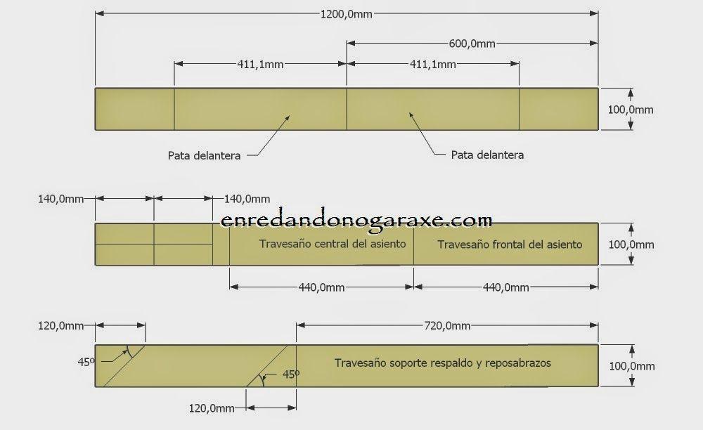 Planos y diagrama de corte de las tablas estrechas de palet. enredandonogaraxe.club
