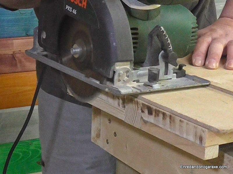 Ajustar la longitud de las baldas con la sierra de disco