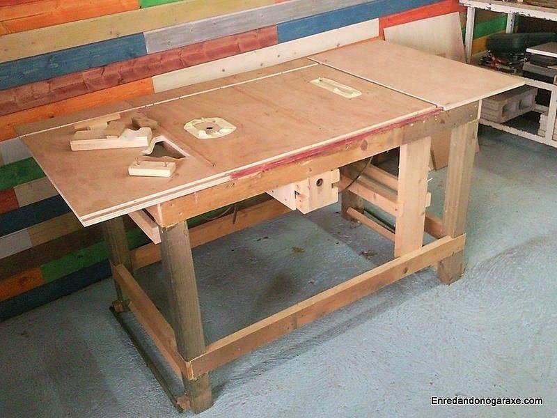 Mesa combinada de carpinteria antes de aplicar el tinte