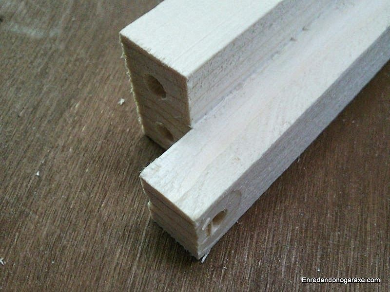 Agujeros para unir con clavijas las piezas de 40cm