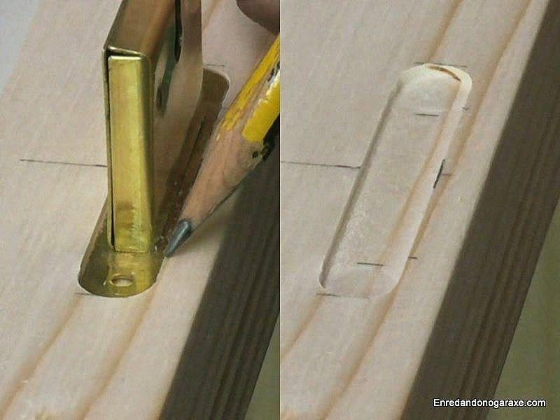 Marcar la posición de la caja de la cerradura