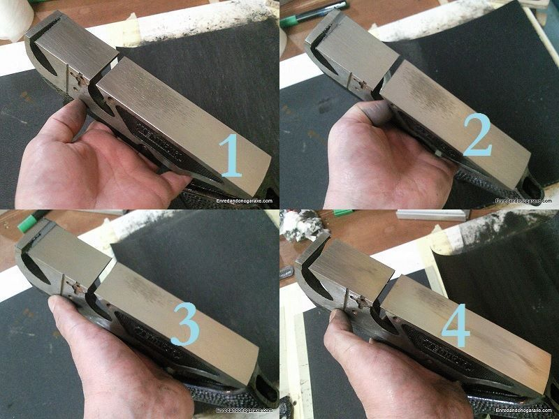 Rectificar con tela esmeril la base del cepillo de carpintero