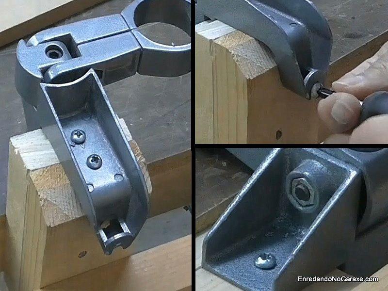Encajar la pieza de madera en el soporte para taladro y atornillar