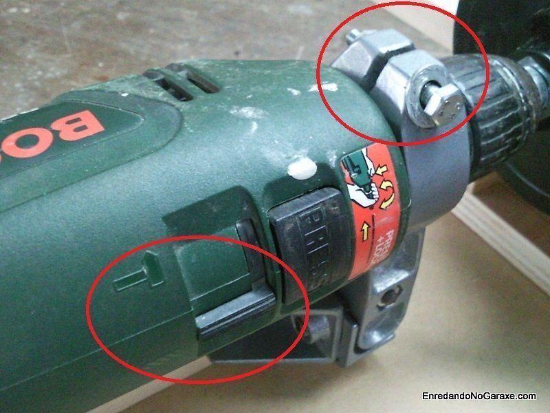 Tornillo para fijar el taladro al soporte y quitar martillo