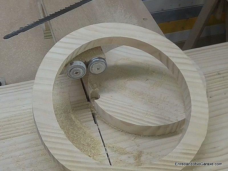 Cut a wooden hoop