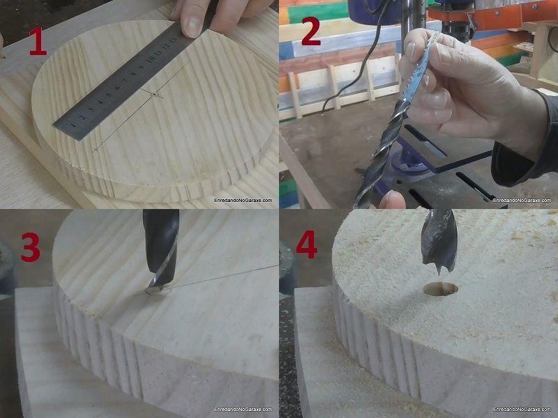 Taladrar un primer agujero en el interior del aro