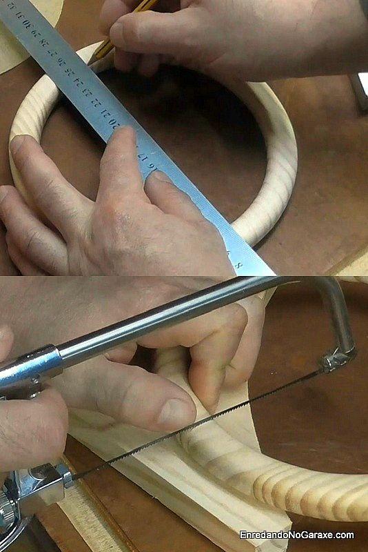 Cómo cortar el aro de madera en dos mitades iguales