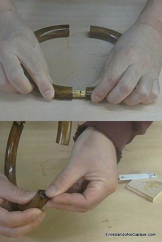 Montar la bisagra de embutir y los imanes de la gargantilla