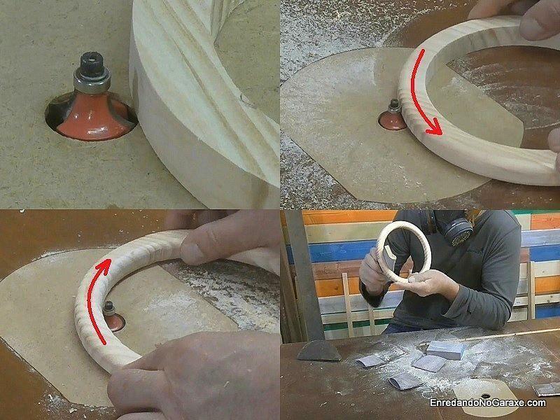 Con la mesa fresadora redondear el aro de madera