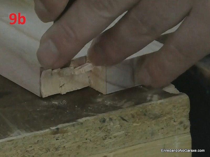 Cortar y ajustar los huecos de esta unión de carpintería