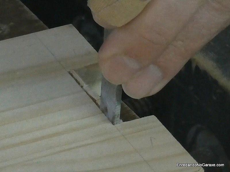 Cortar tres cuartos del hueco de la unión