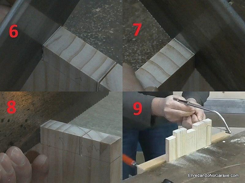 Cortar la madera de los huecos de la unión de lazos rectos