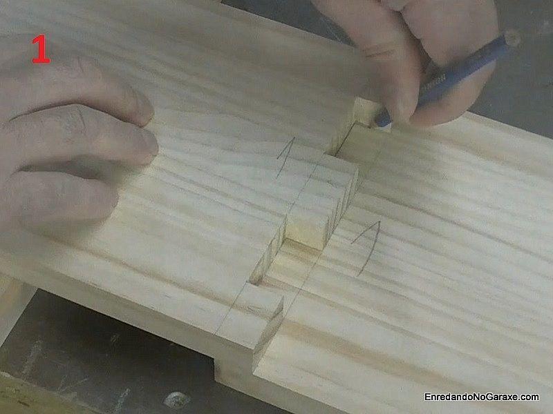 Marcar los huecos de la unión que hay que cortar