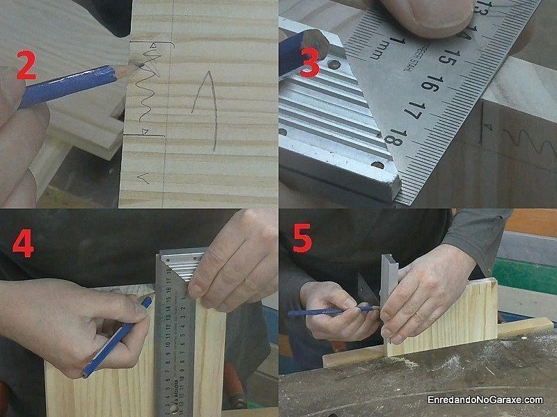 Terminar de marcar los huecos de la unión de lazos rectos