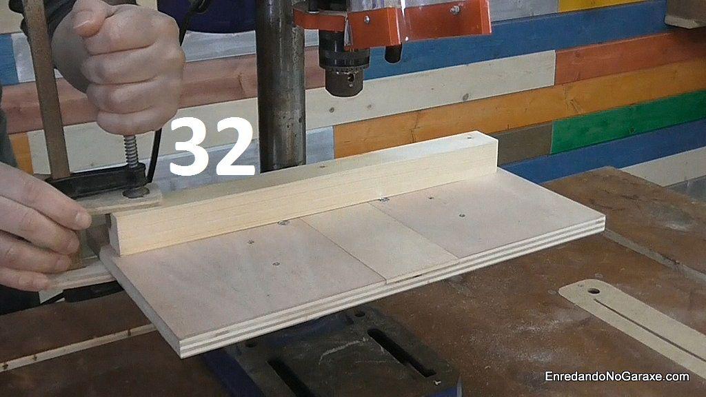 Mesa para taladro de columna y guía lateral pivotante