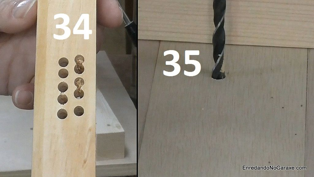 Prueba de taladrar agujeros con la mesa del taladro de columna