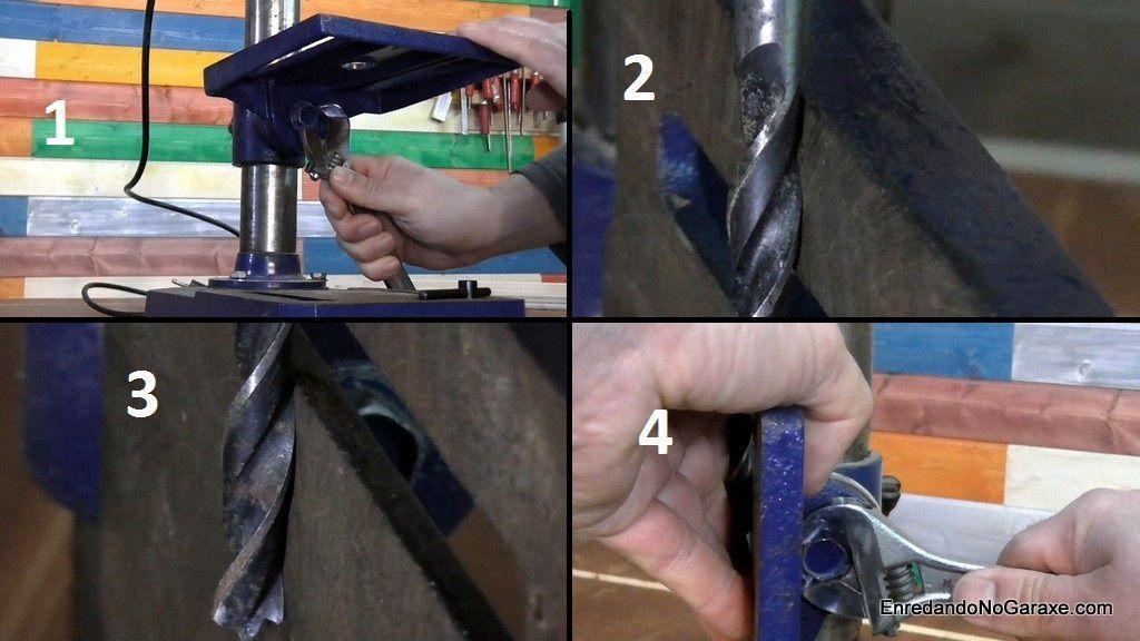 Cómo girar la mesa metálica del taladro de columna