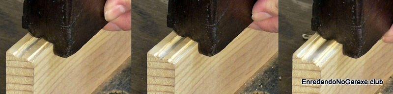 Cepillar en varias pasadas hasta obtener la moldura en la madera