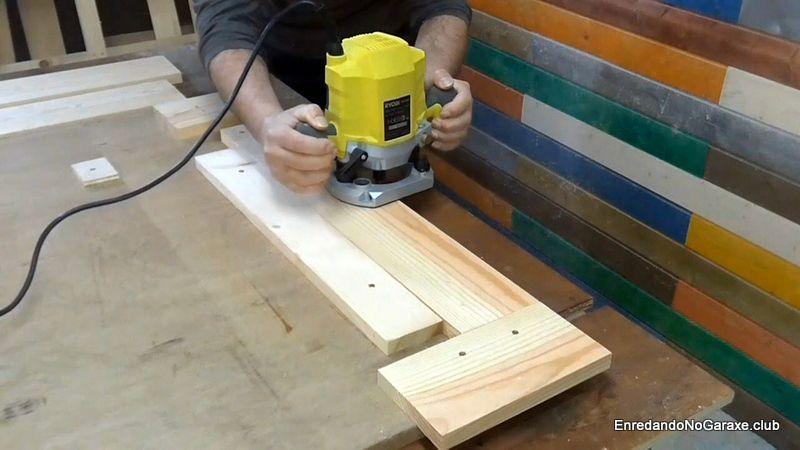 Fresar la ranura en las tablas cortas