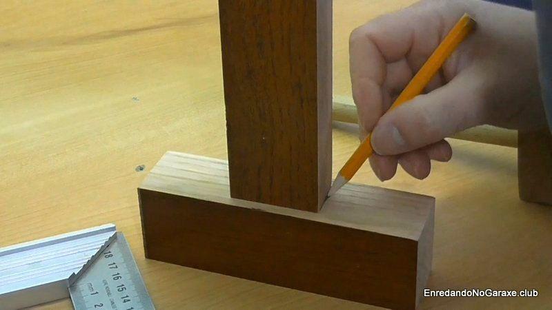 Marcar donde hacer la unión de caja y espiga