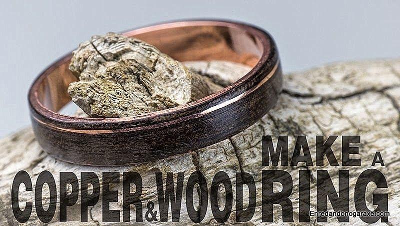 Anillo de madera y cobre