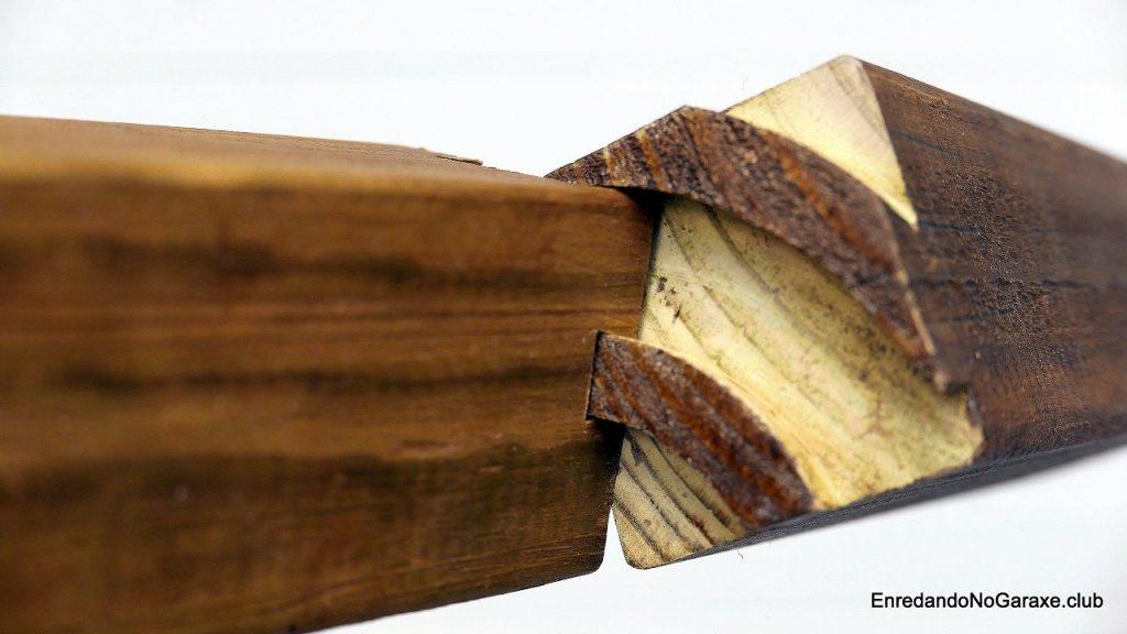 Unión de cola de milano imposible en curva