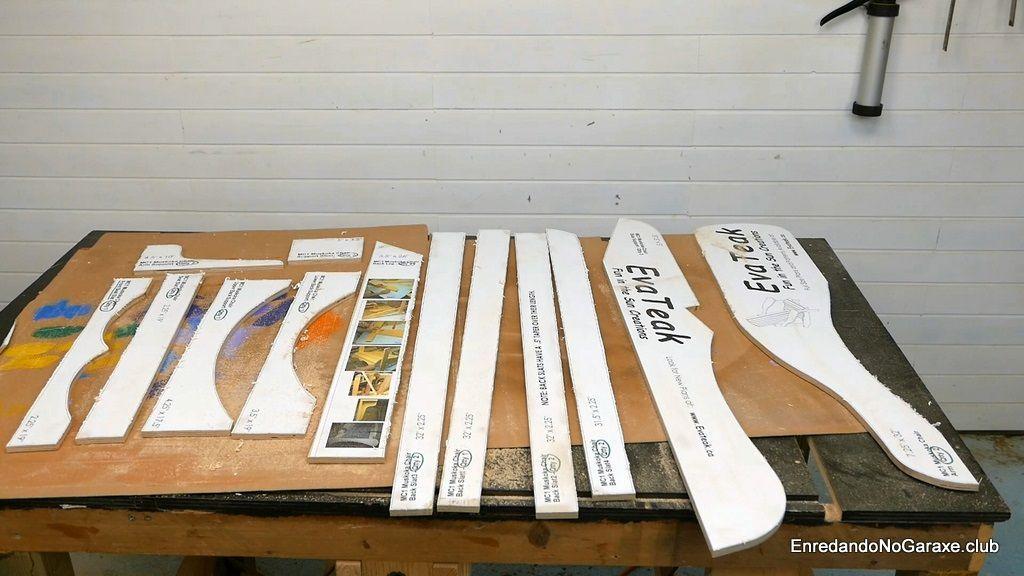 Plantillas planos silla Adirondack antes de lijar los cantos