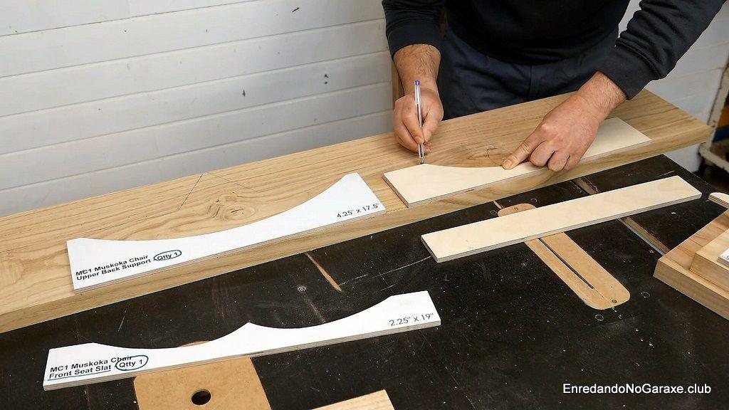 Dibujar la estructura de la silla en los tablones de madera
