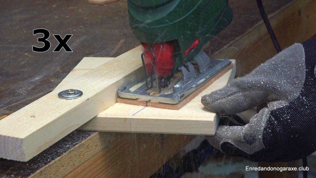 cortar madera en ángulo con la sierra de calar